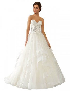 Cheap Long Lace & Satin & Tulle Chapel Train Ivory Ball Gown Reese Wedding Dress Calgary