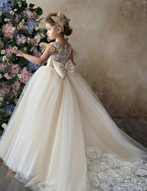 Cheap Long Lace & Tulle Chapel Train Champagne Ball Gown Flower Girl Dress Calgary