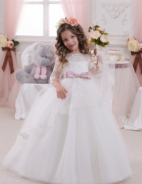 Cheap Long Lace & Tulle Chapel Train Ivory Ball Gown Flower Girl Dress Calgary