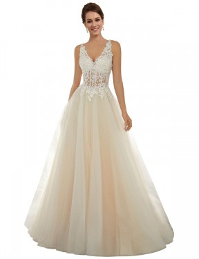 Cheap Long Lace & Tulle Chapel Train Ivory & Champagne A-Line Amy Wedding Dress Calgary