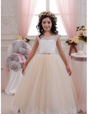 Cheap Long Lace & Tulle Floor Length Ivory & Champagne Ball Gown Flower Girl Dress Calgary