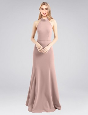 Cheap Long Stretch Crepe Floor Length Dusty Pink A-Line Glover Bridesmaid Dress Calgary