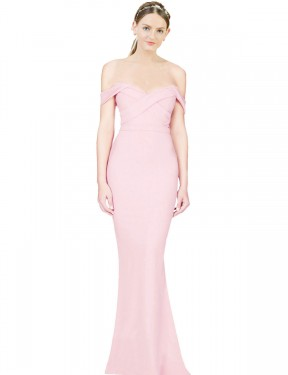Cheap Long Stretch Crepe High Low Pink A-Line Ayad Bridesmaid Dress Calgary