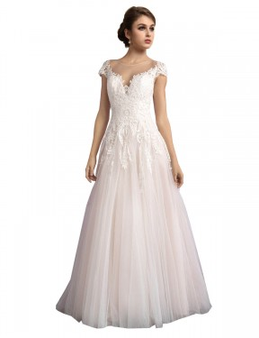 Cheap Long Tulle Cathedral Train Ivory & Champagne A-Line Mariana Wedding Dress Calgary