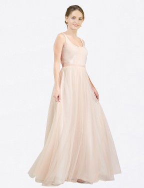 Cheap Long Tulle Floor Length Pink A-Line Lily Bridesmaid Dress Calgary