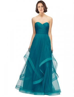 Cheap Long Tulle Floor Length Turquoise A-Line Lacey Bridesmaid Dress Calgary
