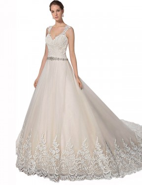 Cheap Long Tulle & Lace Chapel Train Ivory & Champagne A-Line Ember Wedding Dress Calgary